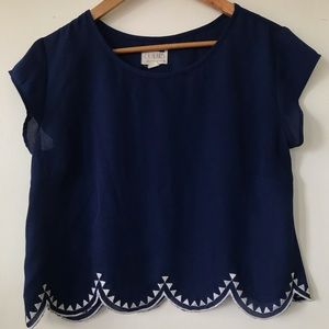 Blue Scalloped Top